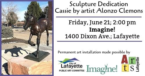 """Friday, June 21; 2pm Sculpture dedication for """"Cassie"""" by Alonzo Clemons at Imagine! 1400 Dixon Ave; Lafayette"""