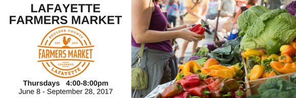 Lafayette Farmers Market Thursdays from 4-8pm