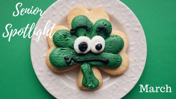 Senior Spotlight March - Shamrock shaped cookie