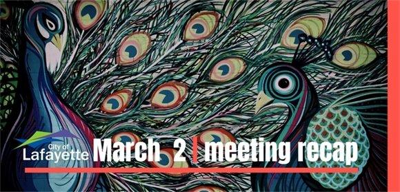 March 2 City Council meeting recap graphic