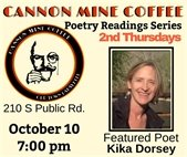 2nd Thursdays Poetry Reading Series at Cannon Mine Coffee October 10; 7PM