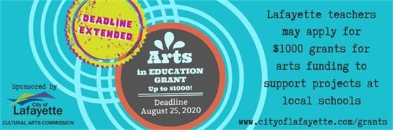 Deadline Extended to August 25, 2020  for Arts In Education Grants