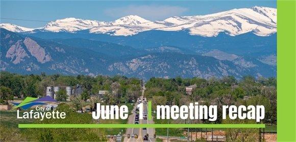 June 1  City Council meeting recap graphic