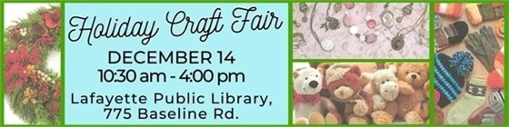 Dec. 14 Holiday Craft Fair at Lafayette Public Library