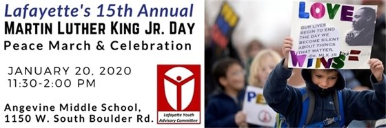 Jan 20 11:30-2 MLK Peace March and Celebration at Angevine Middle School, 1150 W. South Bldr. Rd.