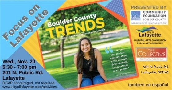 NOv. 20; 5:30-7 PM Boulder County Trends Report at The Collective; 201 N Public Rd.