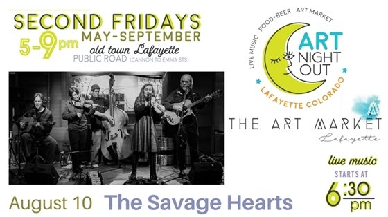 Art Night Out with The Savage Hearts (band)  August 10. 6:30 pm