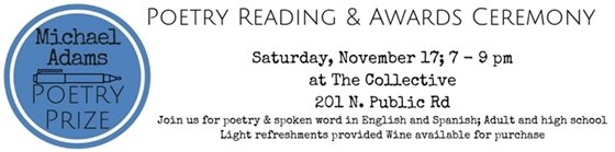 Poetry Reading Saturday November 17 7 - 9 pm