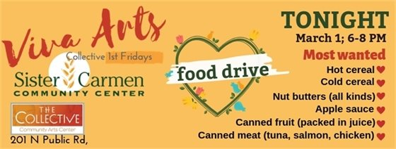Food Drive tonight, during Sister Carmen Celebration of 40 Years of Good Work