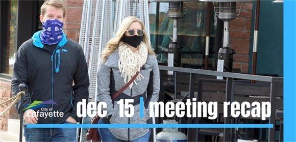 Dec. 15 City Council meeting recap graphic