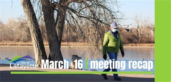 March 16 City Council meeting recap graphic