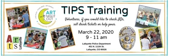 3/22; 9-11 a.m. TIPS Training for Art Night Out Volunteers