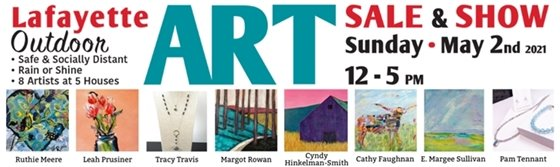 Sunday, May 2, 12-5 p.m. Outdoor Art Sale by 8 Lafayette Painters and Jewelers