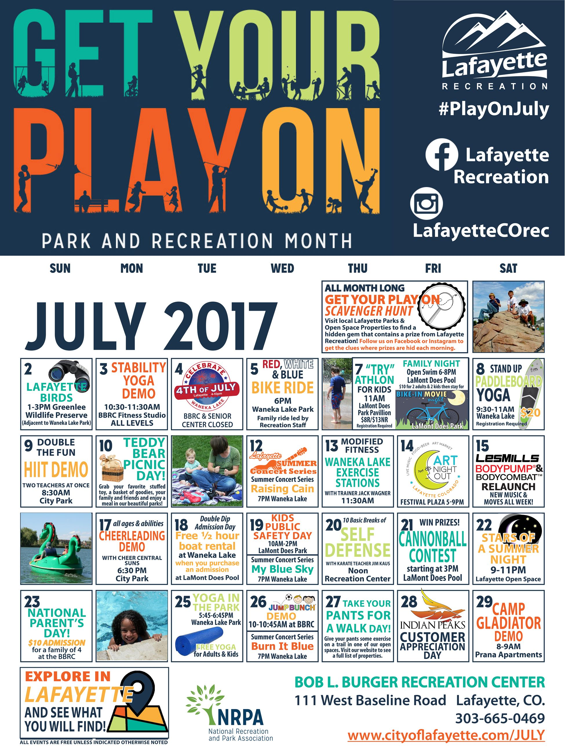 Lafayette 2017 Parks and Recreation month calendar