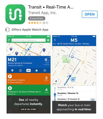 Transit app screen shot_400w