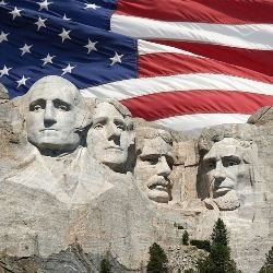 presidents day mount rushmore with a flag
