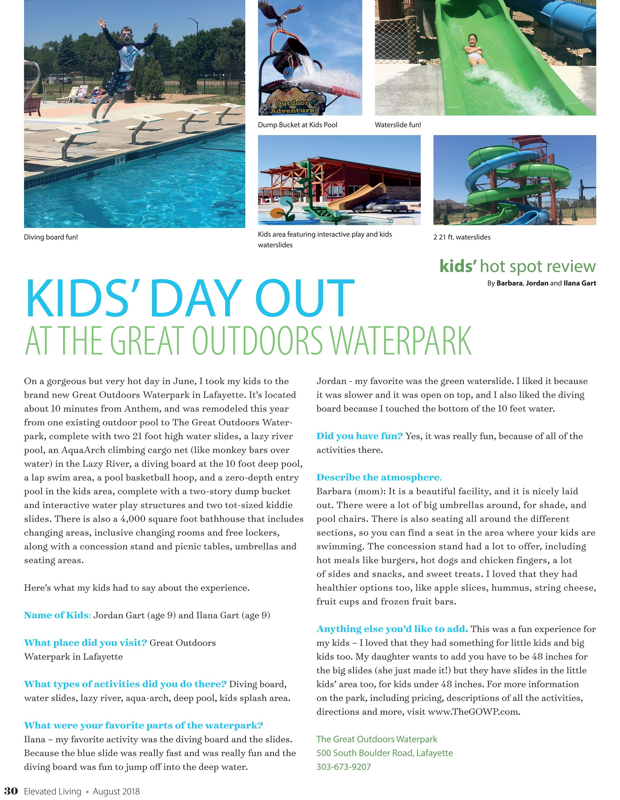 Aug_2018_Elevated_Living Article on the Great Outdoors Waterpark