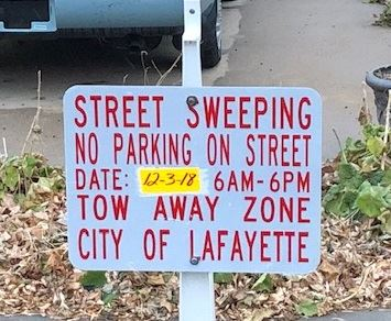No parking street sweeping signs
