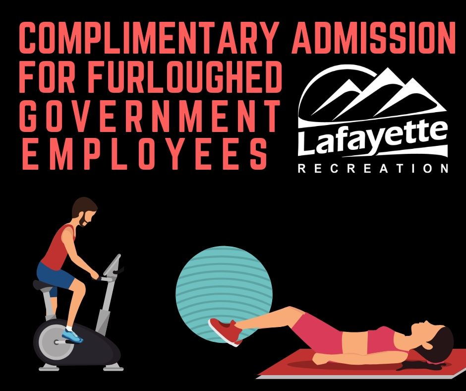 Complimentary Admission for Furloughed Employees Graphic Depicting Cartoon People Working Out