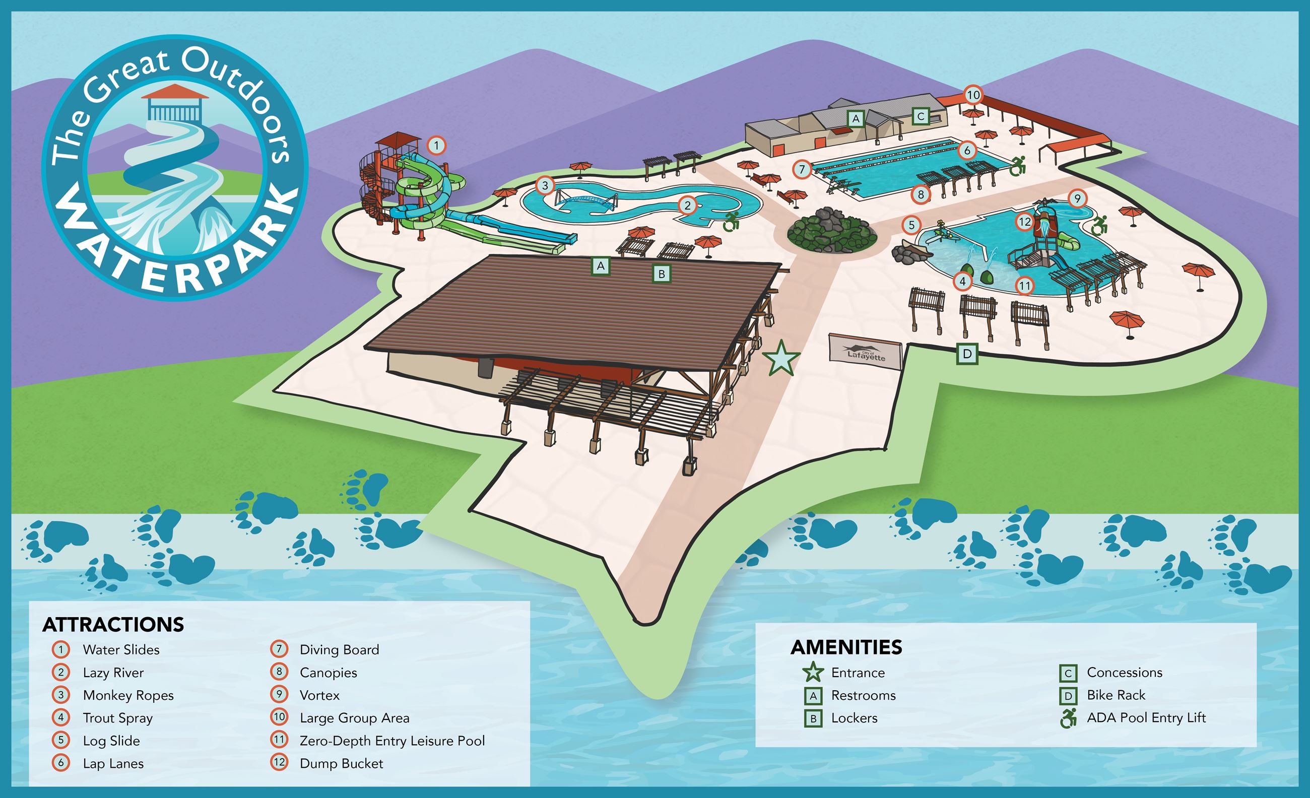 Digital drawing of waterpark map