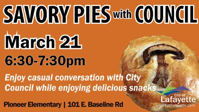 Savory pies with Council on March 21