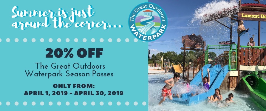 20% off Great Outdoors Waterpark Passes in April