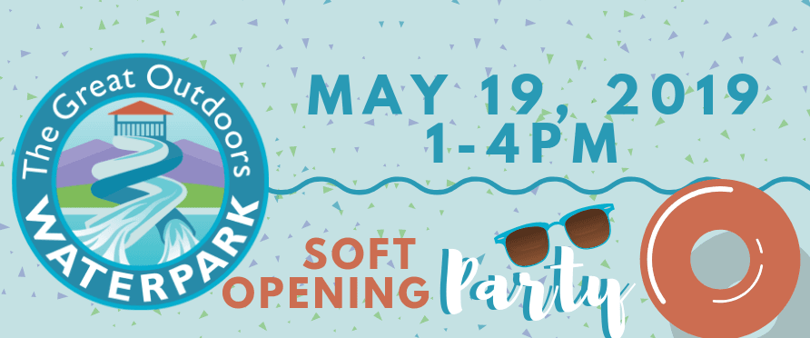 GOWP Soft Opening Party on May 19th from 1-4 PM, image with logo, bouey and sunglasses
