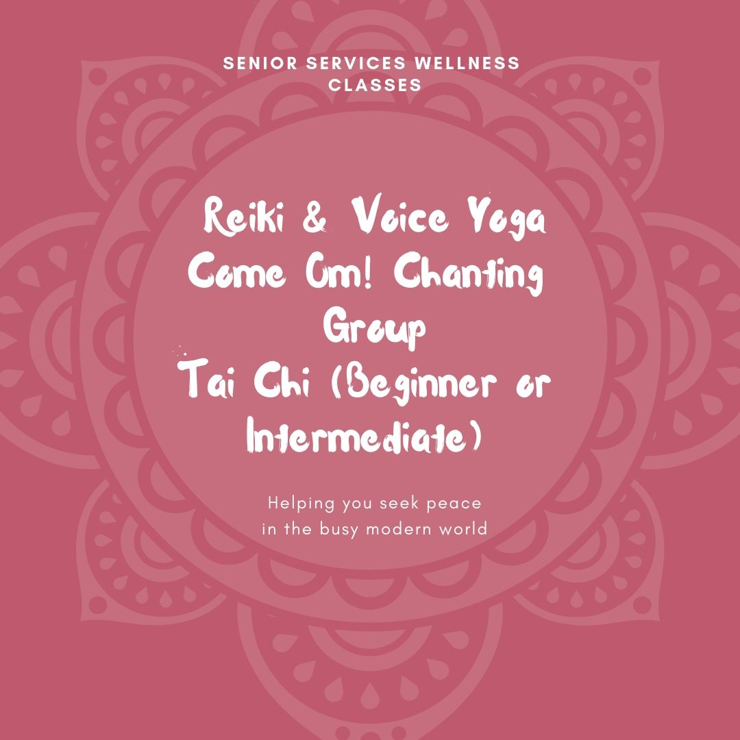 Red mandala with text Reiki and Voice Yoga, Come Om! Chanting Group and Tai Chi in white