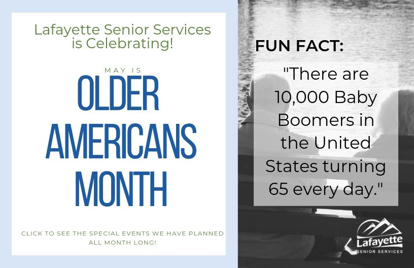 Senior Services is Celebrating Older Americans Month! Click the image to learn more about the events