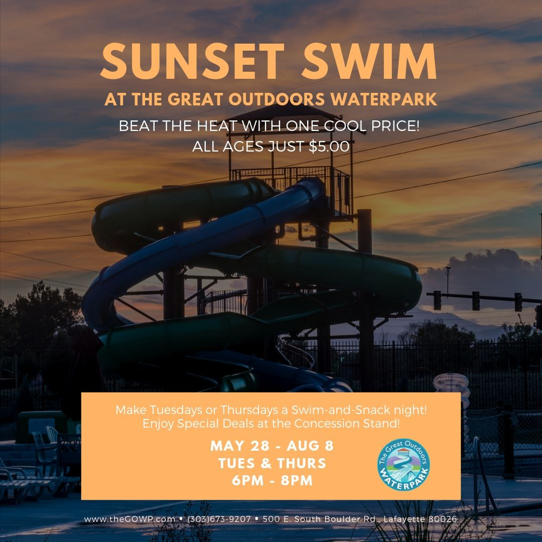 Image of Great Outdoors Waterpark at sunset with information on sunset swim