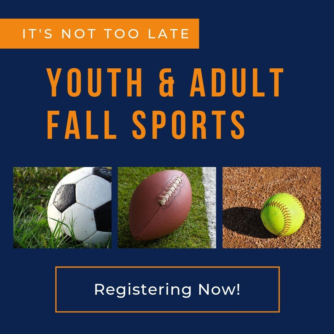 Youth & Adult fall sports, image of soccer ball, football and softball