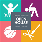 Icon of person in water, person stretching, basketball and scissors and paintbrush, Open house capti