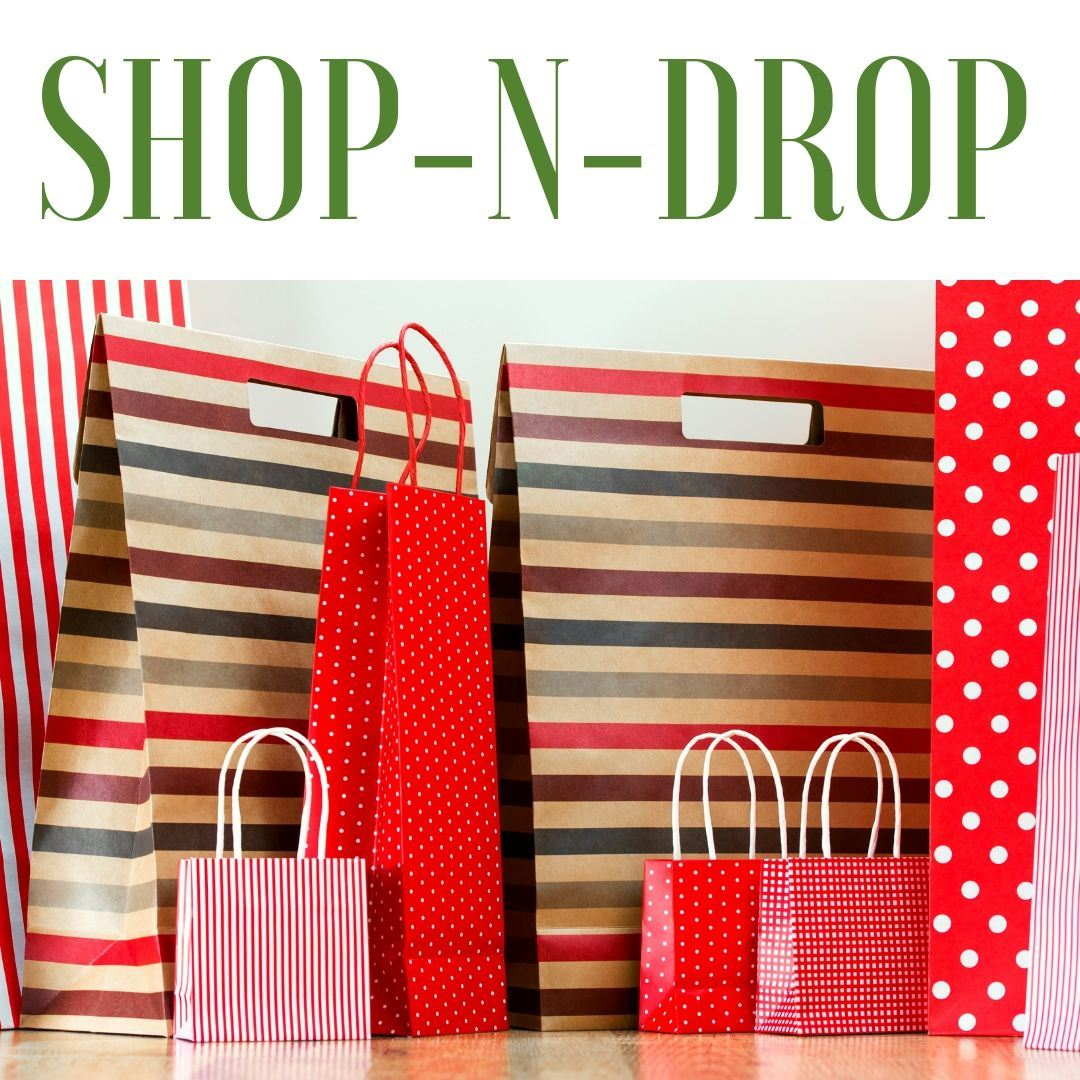 SHOP-N-DROP with gift bags in the background