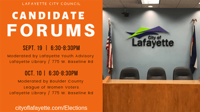 CANDIDATE FORUMS Sept 19 and Oct 10 at the library at 6:30pm