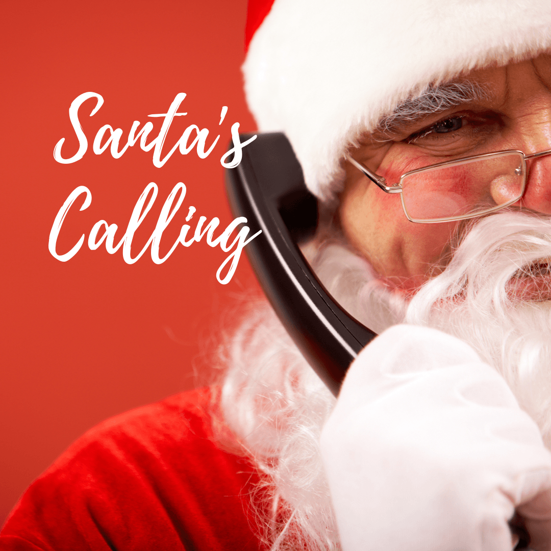 Image of Santa Claus holding a telephone to his ear
