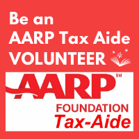 AARP tax volunteers at the library