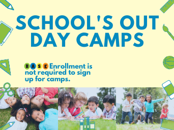 School Days Out Banner, with images of children playing