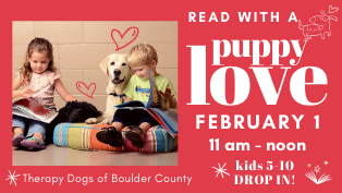Drop in for Paws to Read, Saturday, February 1, 11-12 am
