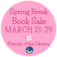 Spring Break book sale graphic with dates, March 21-29
