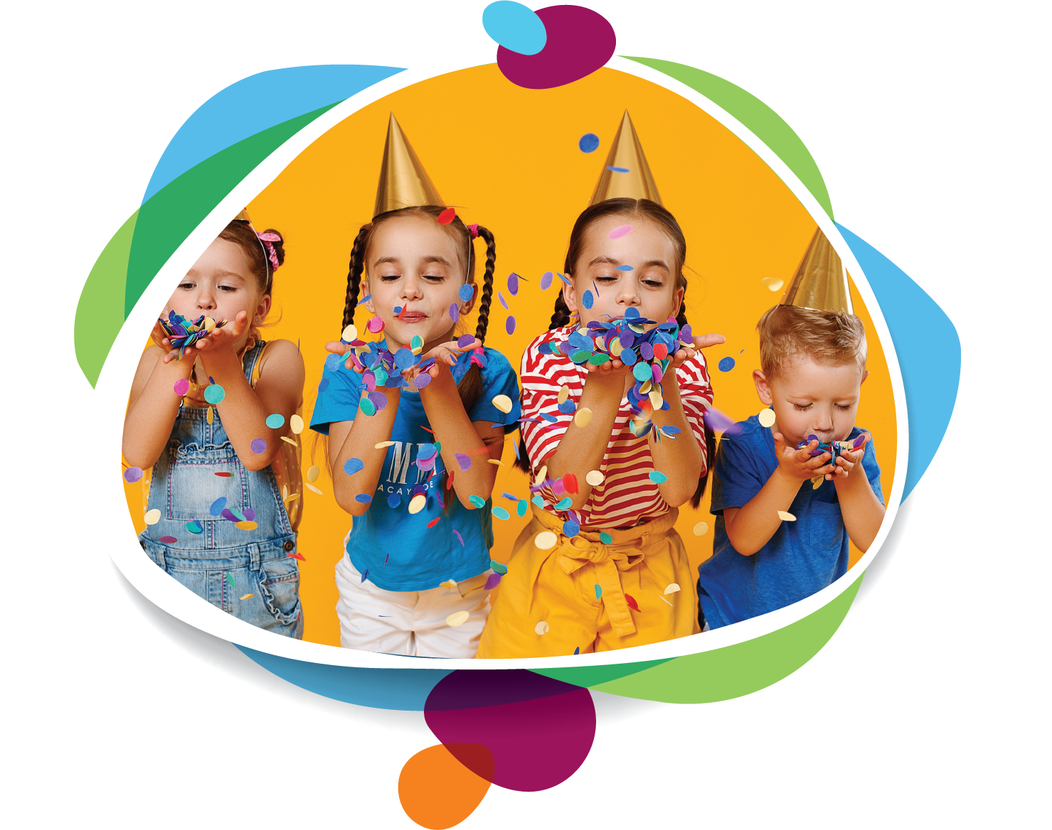 image of young children blowing confetti out of their hands