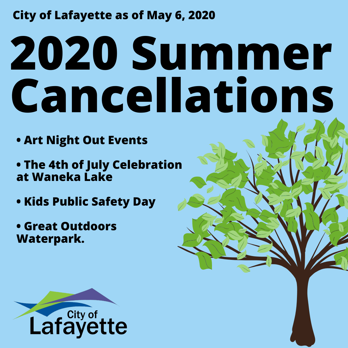 City of Lafayette Summer Cancellations