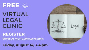 SIgn up now for a virtual free legal clinic on August 14.
