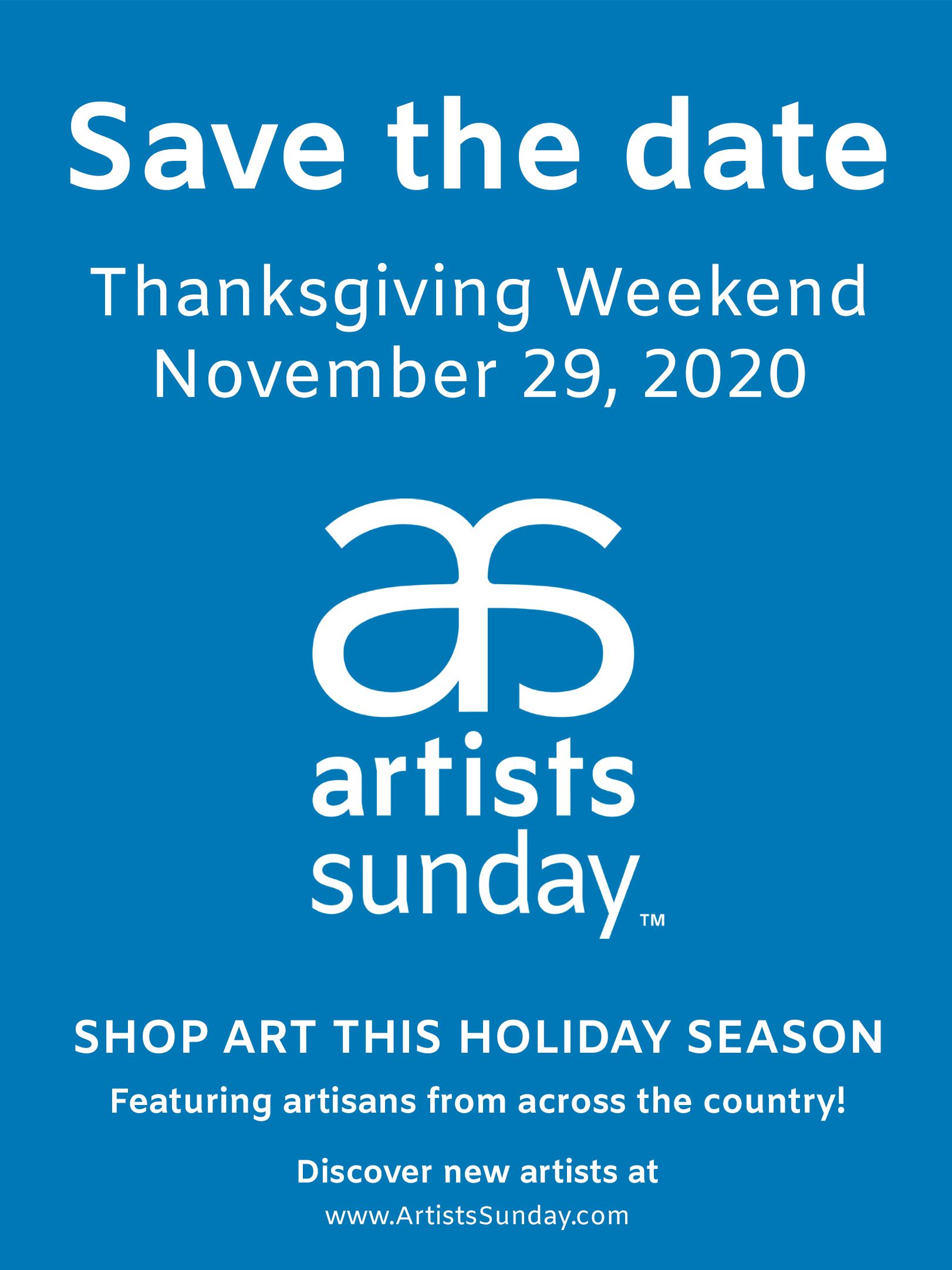 Save-the-date_Artists-Sunday_Vertical-white_on_blue_4x3
