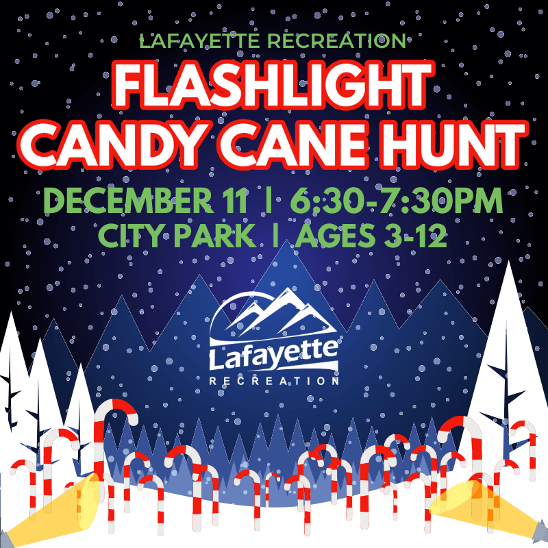 Flashlight Candy Cane Hunt, Dec. 11, 6:30-7:30pm
