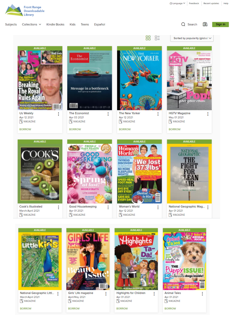 eMagazines screenshot