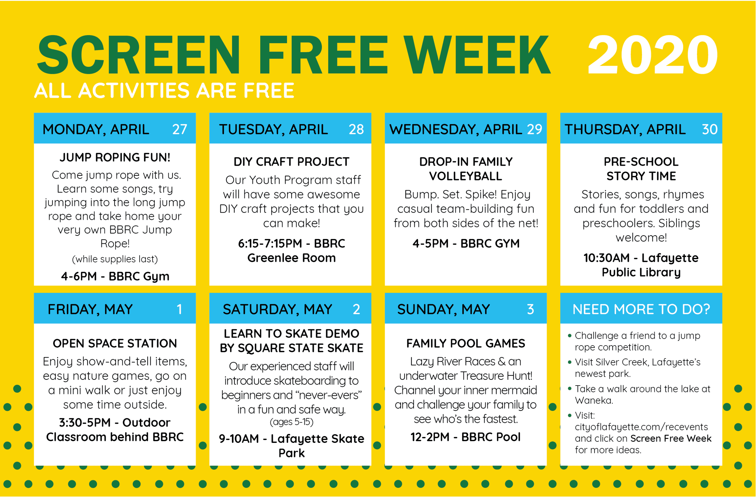 Screen Free Week activity guide
