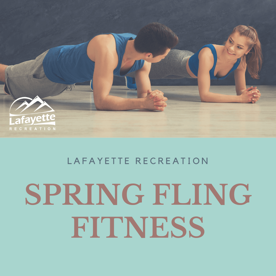image of man and women doing a plank, with Spring Fling Fitness as the title.