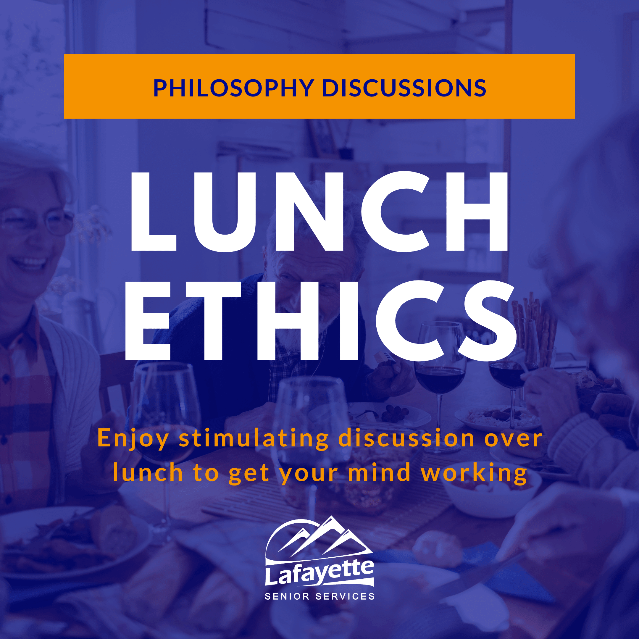 Philosophy discussions: Lunch ethics, enjoy stimulating discussion over lunch to get your mind worki