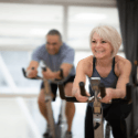 woman and man in cycle class