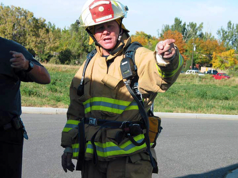 Chief Gerry Morrell on scene of a house fire in 2003